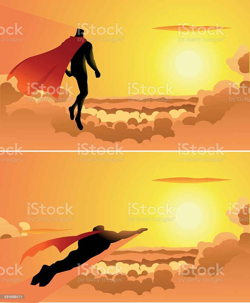 Superhero above the clouds vector art illustration