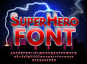 Superhero abstract font and alphabet with numbers. Colorful Comics Retro Typeface on night city background and lightnings. Vector Illustration