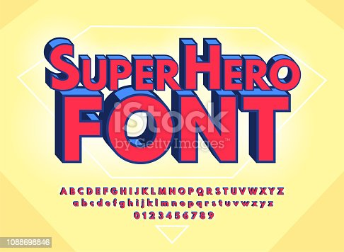Superhero abstract font and alphabet with numbers. Colorful Comics Retro Typeface. Vector Illustration