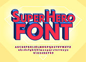 istock Superhero abstract font and alphabet with numbers. Colorful Comics Retro Typeface. Vector Illustration 1088698846