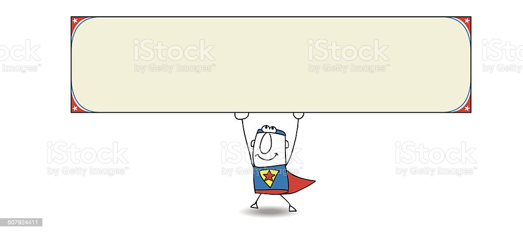 Superhero and horizontal banner vector art illustration