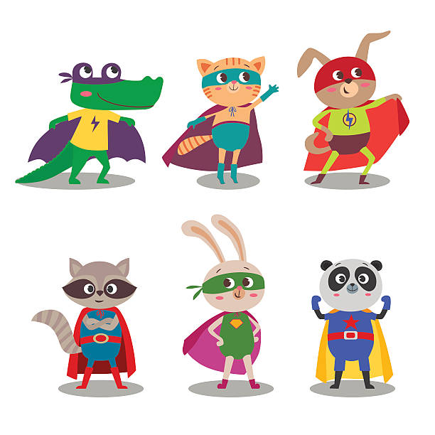 Superhero animal kids. Cartoon vector illustration Superhero animal kids. Cartoon vector illustration. Little cat, dog, panda, raccoon, rabbit and crocodile in superheroes costume mascot stock illustrations