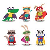 Superhero animal kids. Cartoon vector illustration