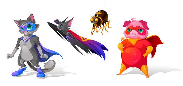 Superhero animals cartoon characters. Funny heroes