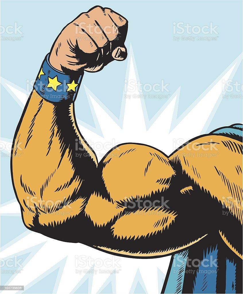 superhero arm flexing. vector art illustration