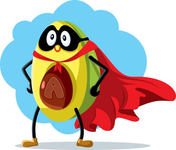 Superhero Avocado Super Food Vector Cartoon vector art illustration