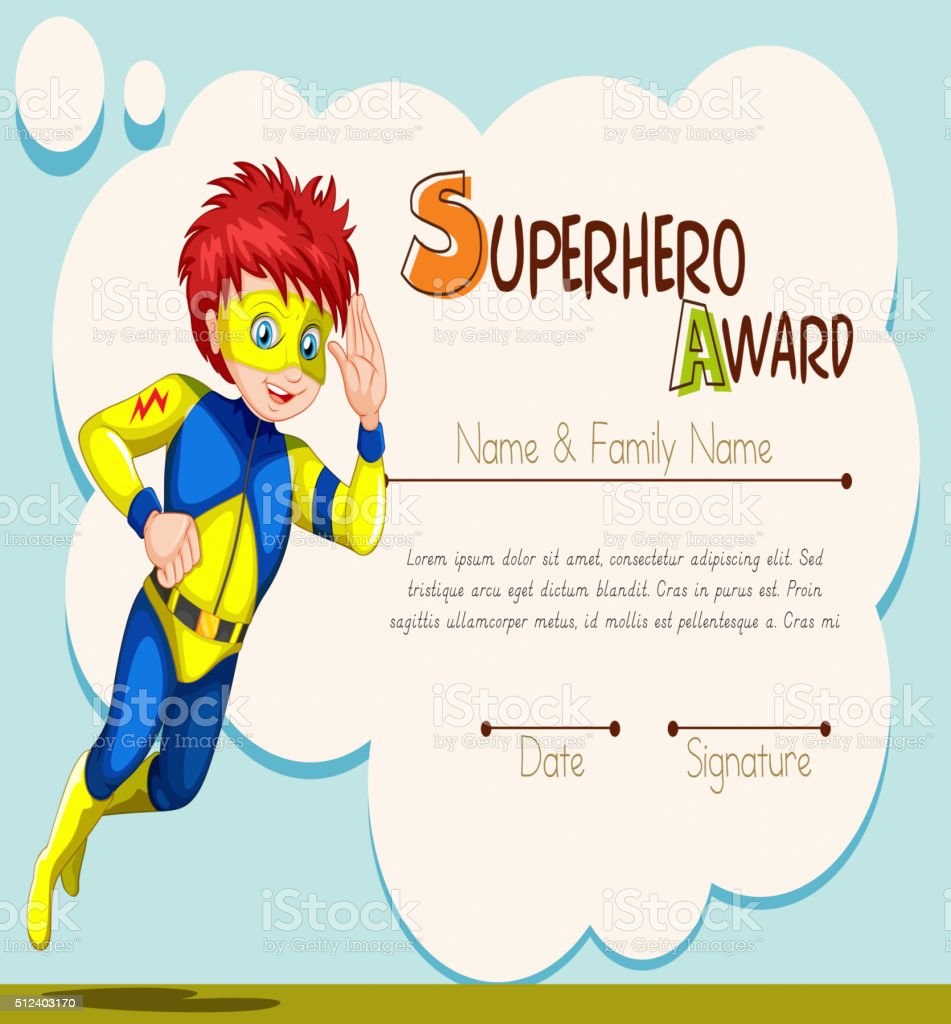 Superhero Award Template With Character In Background Stock Vector ...