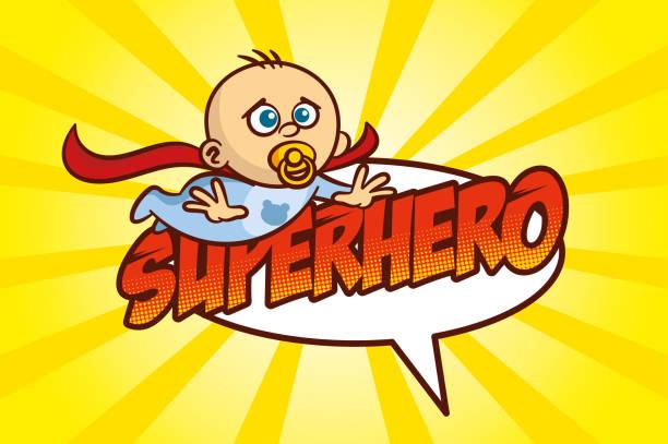 ilustrações de stock, clip art, desenhos animados e ícones de superhero baby boy - super baby