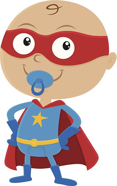 ilustrações de stock, clip art, desenhos animados e ícones de super-herói bebé - super baby