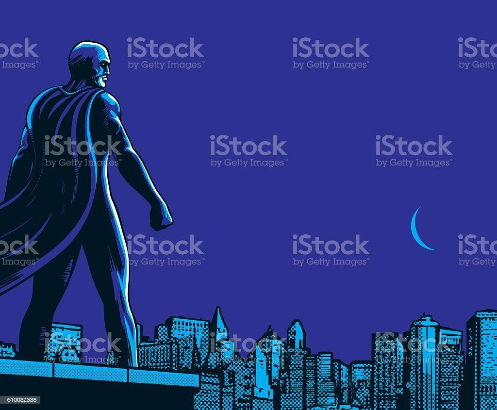 Superhero back city night ベクターアートイラスト