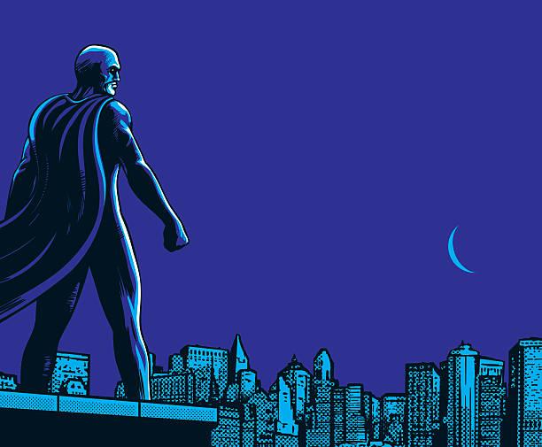 superhero back city night - 漫画の風景点のイラスト素材/クリップアート素材/マンガ素材/アイコン素材