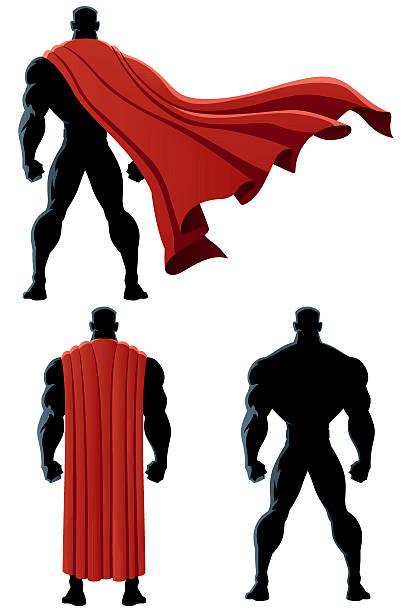 bildbanksillustrationer, clip art samt tecknat material och ikoner med superhero back isolated - superhjälte isolated