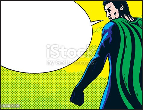 Rear view of male superhero with green cape looking over shoulder and talking with blank speech bubble. Primary cmyk colours.