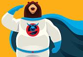 superhero bear saluting