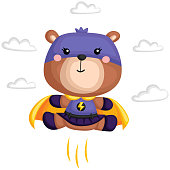 a vector of a bear in a superhero costume