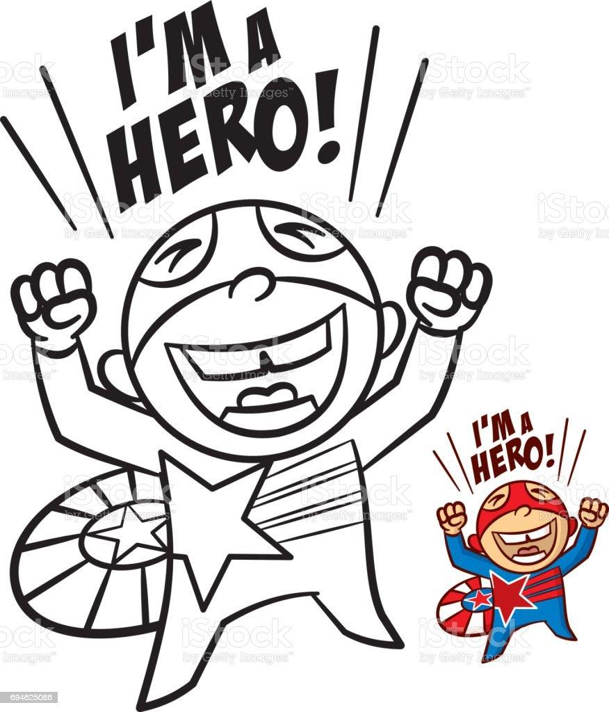 Superheld Junge Malbuch Comicfigur Isoliert Auf Weißem Hintergrund ...