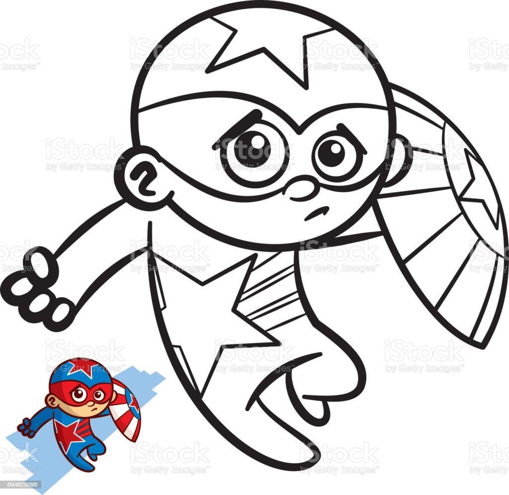 Superheld Junge Malbuch Comicfigur Isoliert Auf Weissem Hintergrund