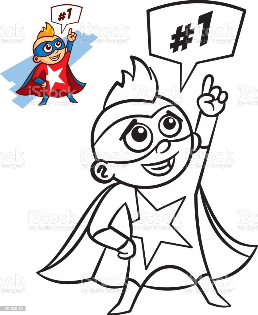 Superhero Boy Coloring Book Comic Character Isolated On White ...