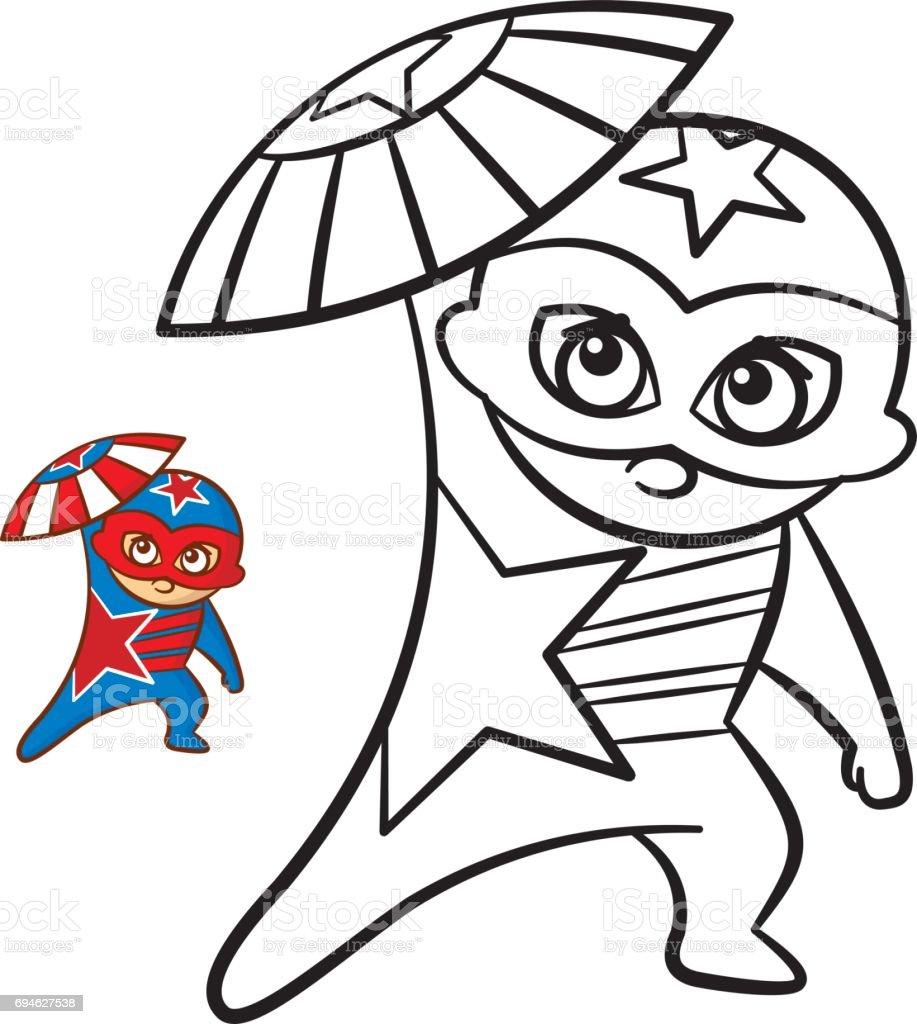 Super Kahraman Cocuk Boyama Kitabi Beyaz Arka Plan Uzerinde Izole