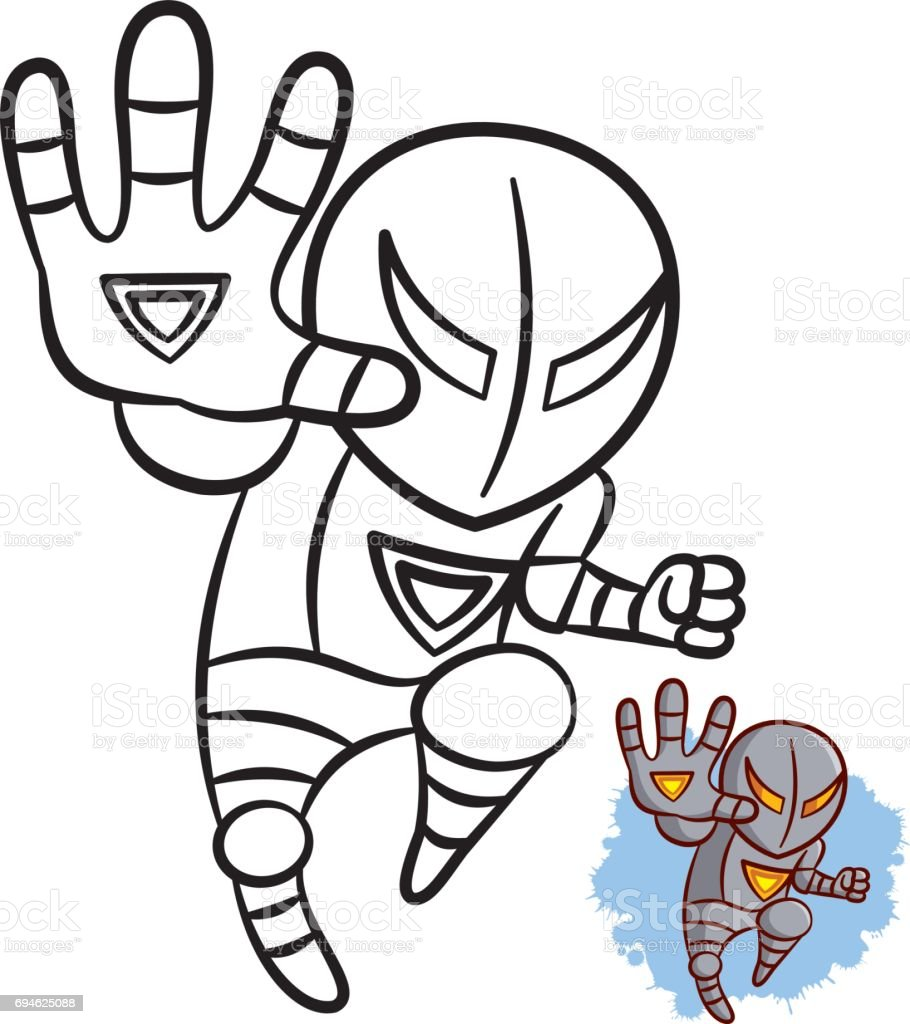 Superhero Boy Iron Coloring Book Comic Character Isolated On White