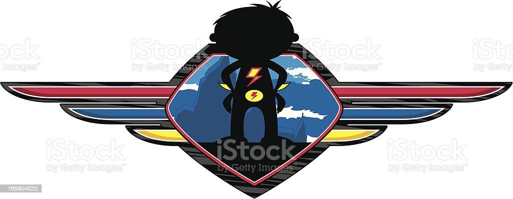 Superhero Boy Silhouette Shield royalty-free superhero boy silhouette shield stock vector art & more images of back lit