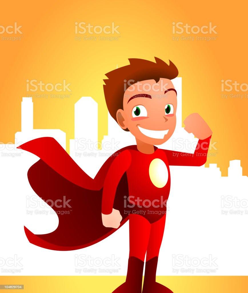 Superhero Boy standing smiling showing strength royalty-free stock vector art