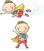 A little boy as a superhero (flying and standing), no gradients,