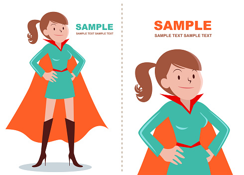 Superhero brown girl (women) standing with hand on hip