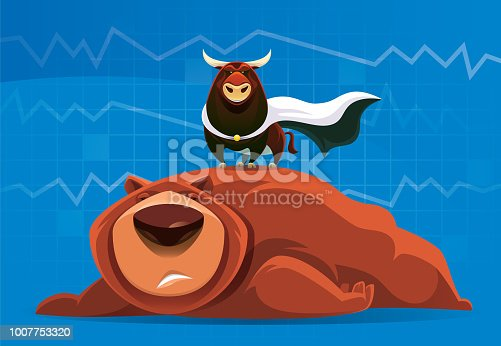 vector illustration of superhero bull and failed bear