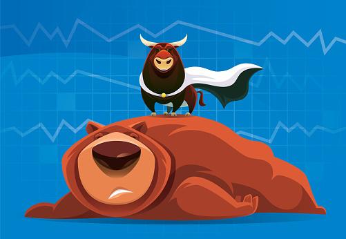 vector illustration of superhero bull and failed bear