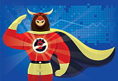 superhero bull saluting