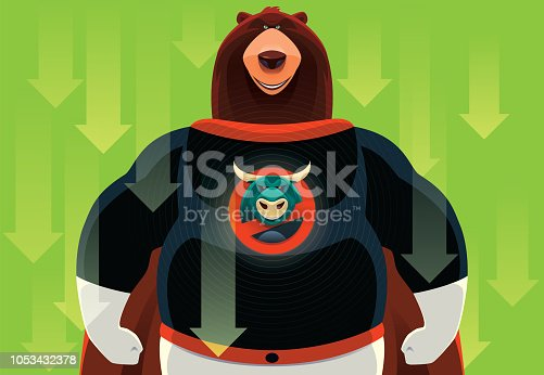 vector illustration of superhero bull with no bear warning sign