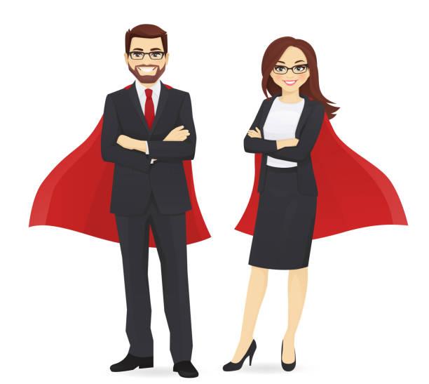 bildbanksillustrationer, clip art samt tecknat material och ikoner med superhjälte business man och kvinna - superhjälte isolated