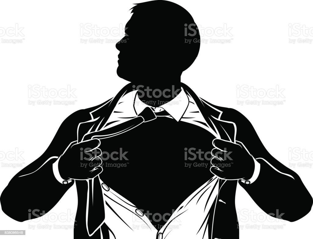 superhero business man tearing shirt showing chest stock vector art