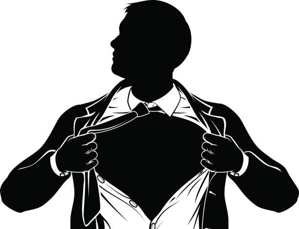 illustrations, cliparts, dessins animés et icônes de homme d'affaires de super-héros tearing shirt montrant la poitrine - modèles de bande dessinée