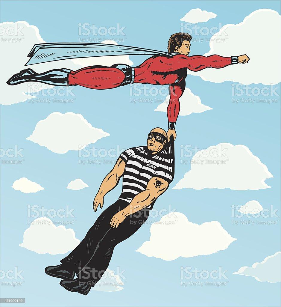 Superhero capturing villain. royalty-free stock vector art