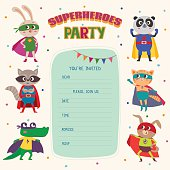 Superhero. Card invitation with group of cute little animals