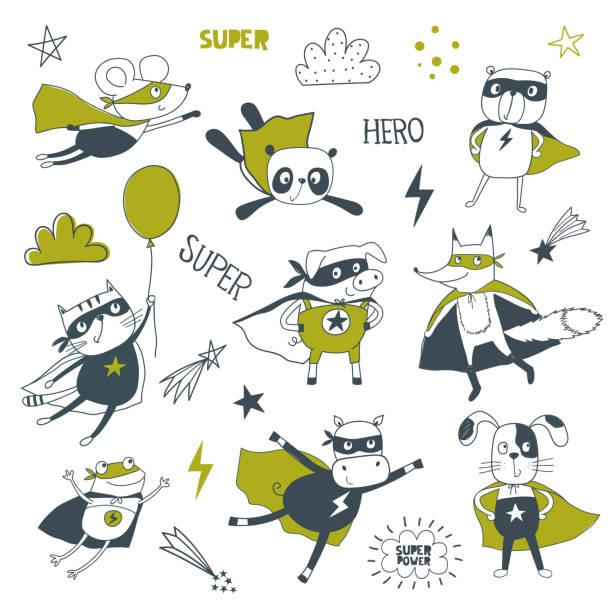 Superhero. Cartoon vector illustration Superhero. Cartoon vector illustration. Little animals in superheroes costume headland stock illustrations