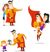 Superhero using his powers to save helpless women and kid. With orange costume and orange superhero cape vector illustration. With woman hiding behind hero while he's stopping danger. With Superhero carrying in his hero arms lady and giving back kitten to little girl. Each one isolated on white.