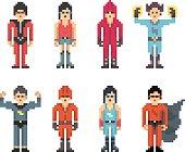 Superhero Characters in Pixel Art Style