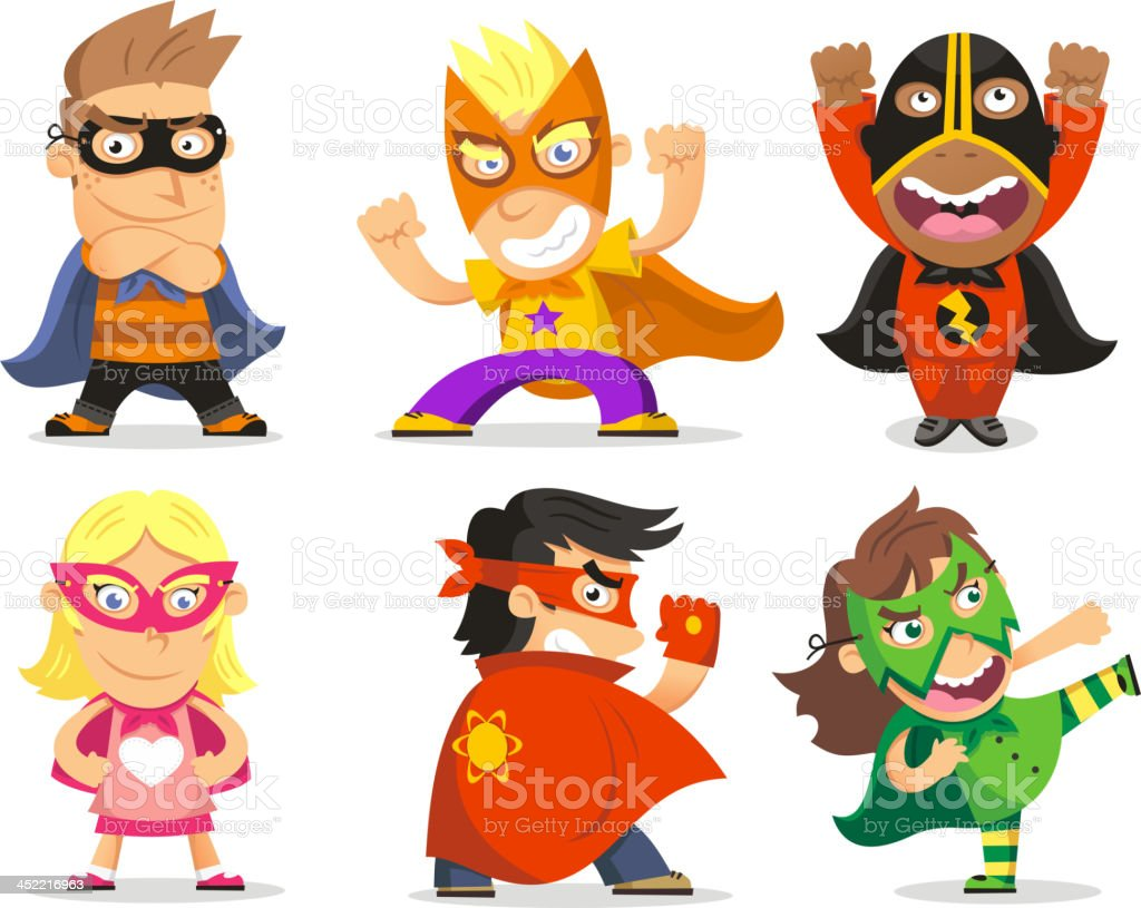 Superhero Children Kids hero vector art illustration