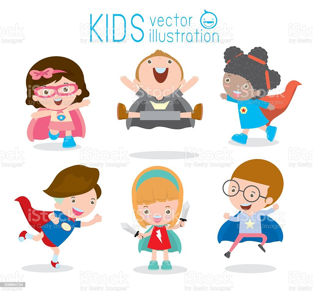 Superhero Childrenu0027s Superhero KidsKids With Superhero Costumes set royalty-free superhero childrens  sc 1 st  iStock & Superhero Childrens Superhero Kidskids With Superhero Costumes Set ...