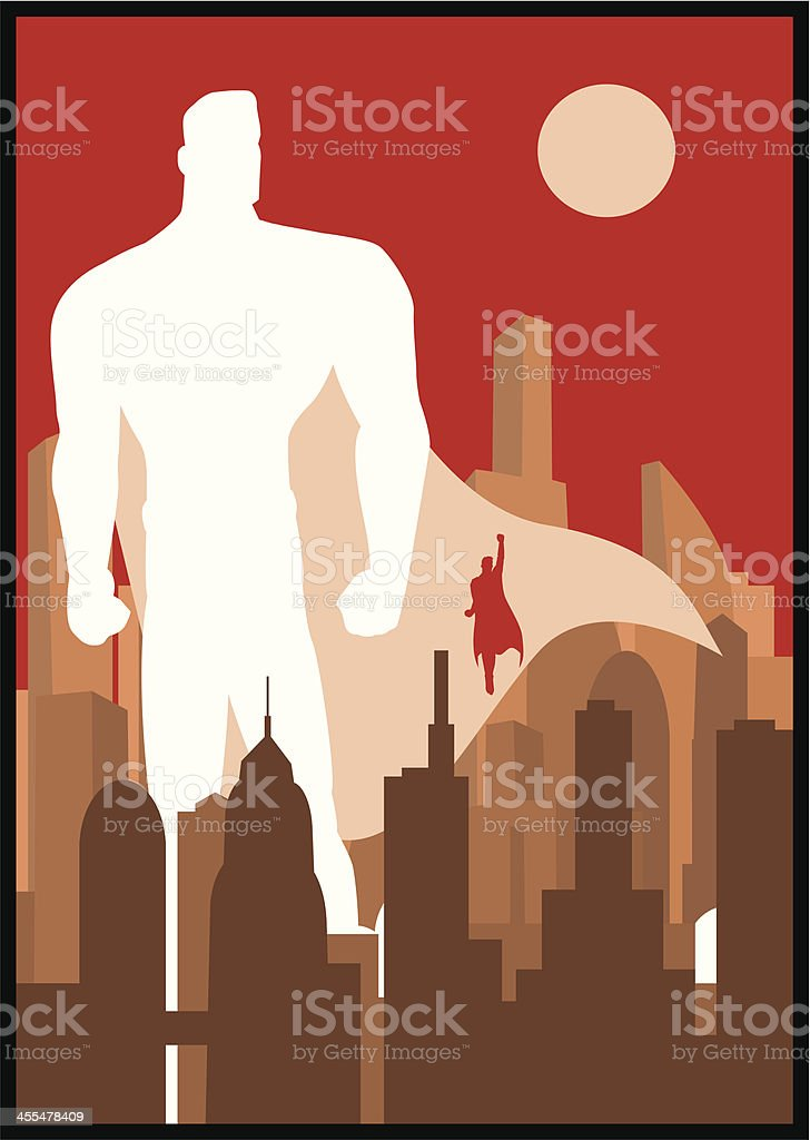 Superhero City Concept Poster royalty-free superhero city concept poster stock vector art & more images of 1950-1959