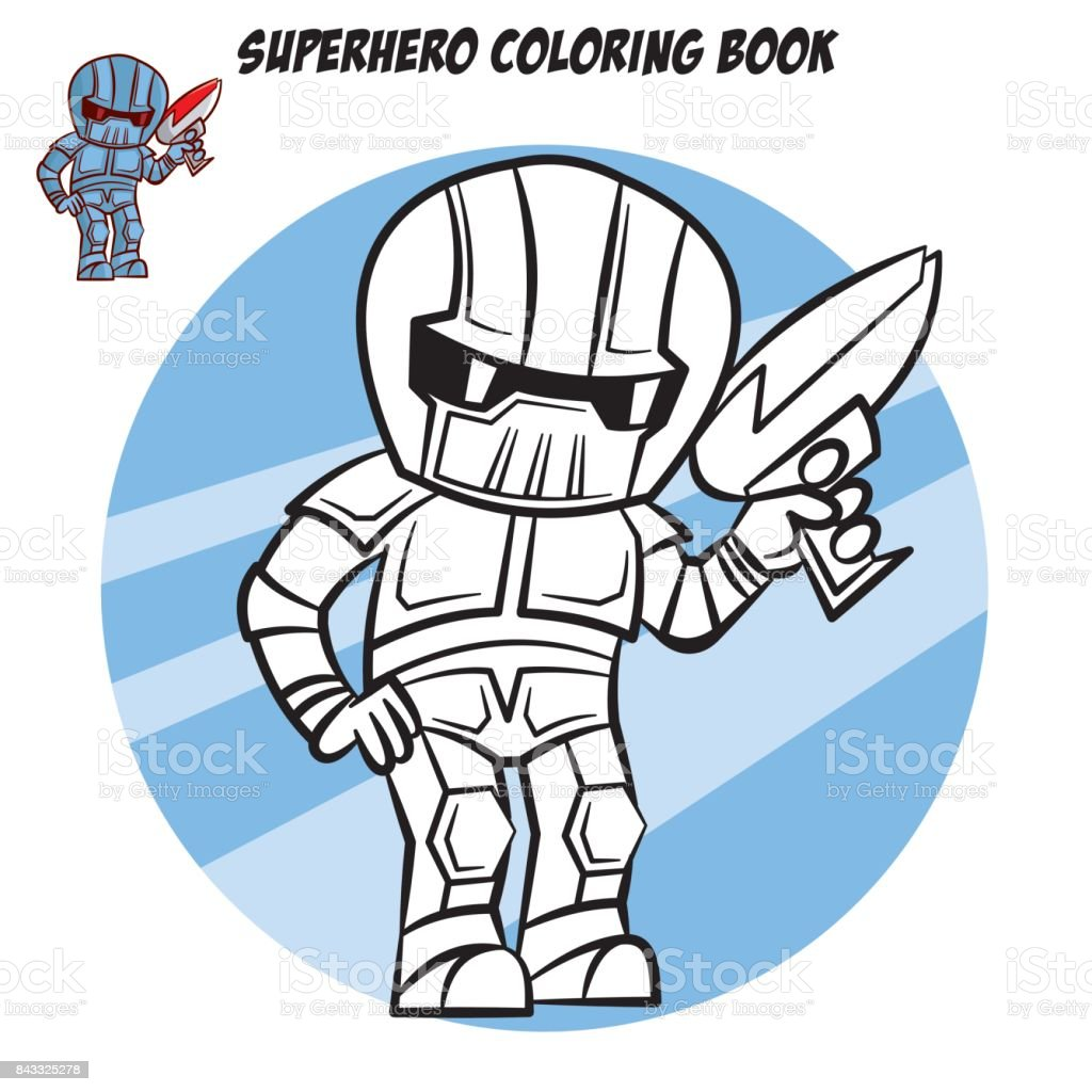 Süper Kahraman Boyama Kitabı Beyaz Arka Plan üzerinde Izole çizgi