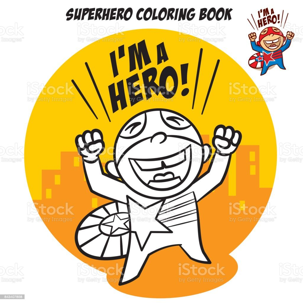 Libro Para Colorear De Superhéroes Carácter Cómico Aislado Sobre ...