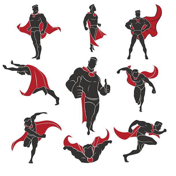 bildbanksillustrationer, clip art samt tecknat material och ikoner med superhero comics set - superhjälte isolated