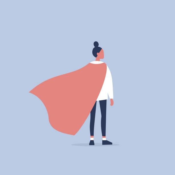 Superhero conceptual illustration. Young  female character wearing a superhero cape / flat editable vector illustration, clip art Superhero conceptual illustration. Young  female character wearing a superhero cape / flat editable vector illustration, clip art authority stock illustrations