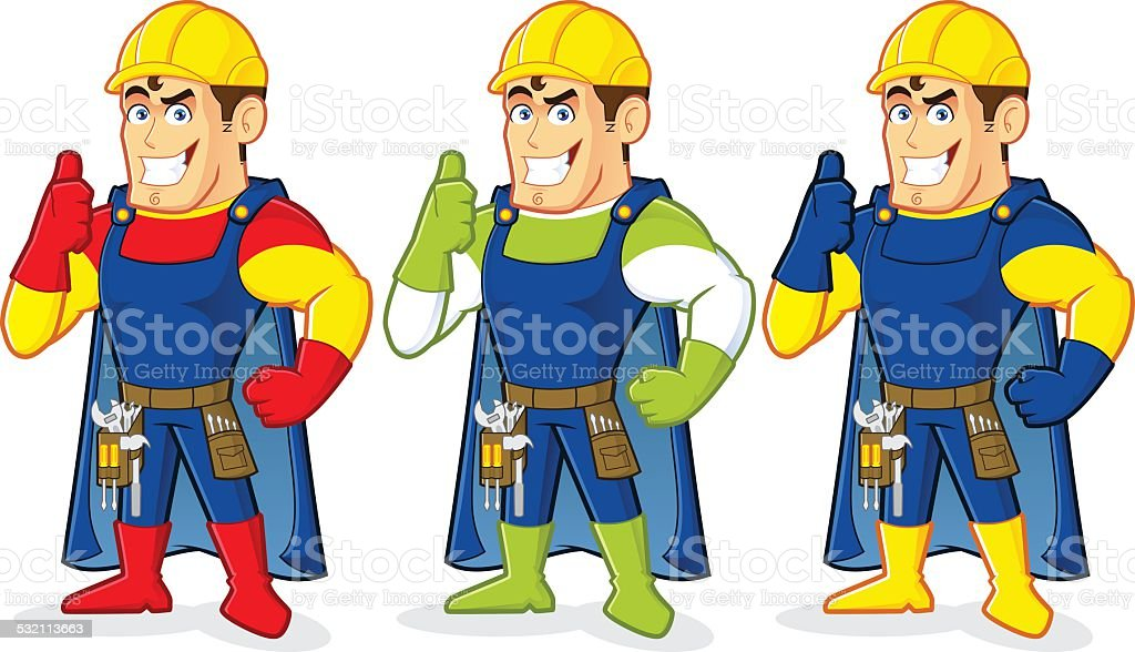 Superhero construction guy vector art illustration