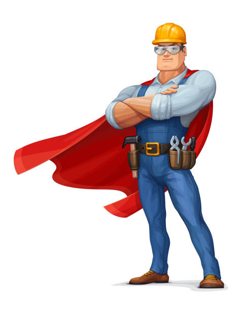 Superhero Construction Worker vector art illustration