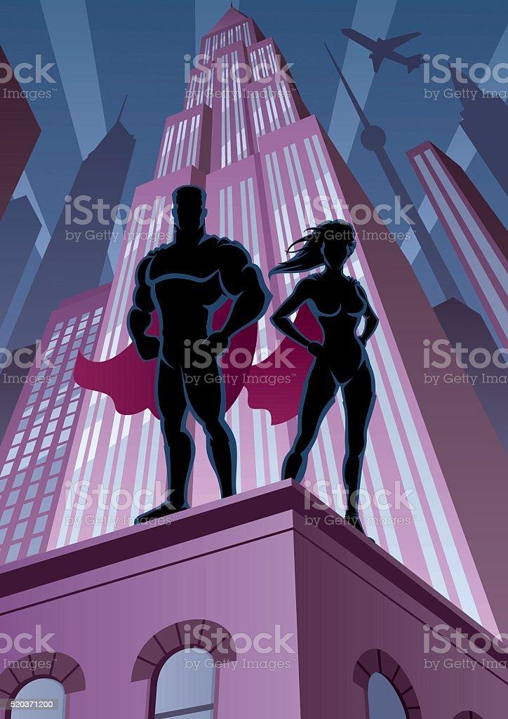 スーパーヒーローカップル 5 ベクターアートイラスト